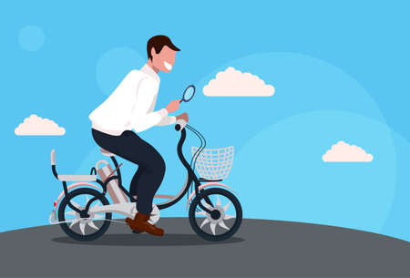 man cycling bicycle holding magnifying glass searching detecting and analyzing concept guy riding bike male cartoon character full length horizontal flat vector illustration