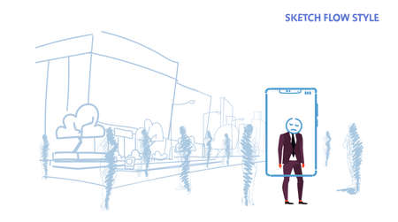 businessman standing out from crowd people silhouettes using mobile application tired mask face smartphone screen city street cityscape background sketch flow style horizontal vector illustration