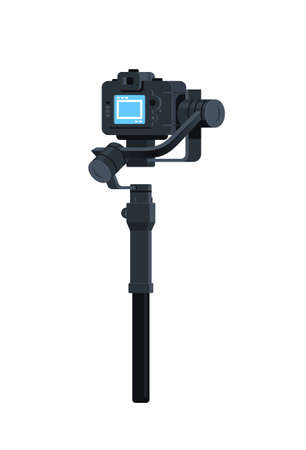 motorized gimbal stabilizer for DSLR mirrorless cameras anti shake tool record video scene concept isolated vertical flat vector illustration