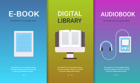 Establecer e-book biblioteca digital colección de conceptos de audiolibros educación en línea e-learning lectura de libros tecnología espacio de copia horizontal plana ilustración vectorial