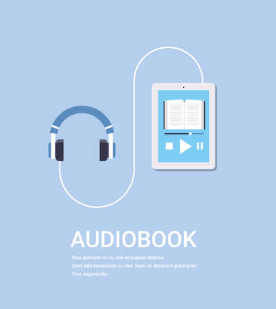 online audiobook mobile application tablet or smartphone screen with headphones audio book distance education e-learning concept blue background copy space vector illustration