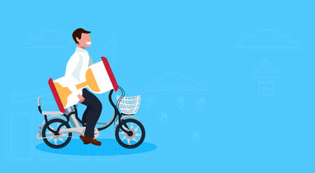 businessman cycling bicycle holding sand clock time management deadline concept guy riding bike male cartoon character full length horizontal flat vector illustration Stock Illustratie
