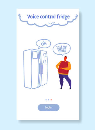 home fridge controlled by man smart tech recognizes commands voice control concept male character full length sketch flow style vertical vector illustration Çizim
