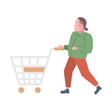 casual man pushing empty trolley cart guy customer shopping concept male cartoon character full length flat isolated vector illustration