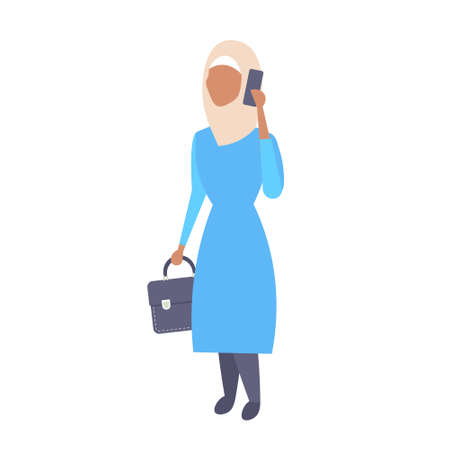 arabic woman phone calling arab businesswoman holding briefcase wearing traditional clothes female cartoon character full length flat isolated vector illustration