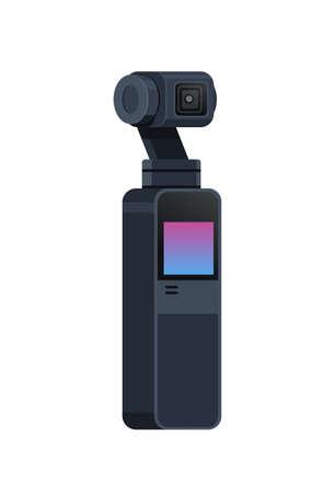 Appareil photo reflex vidéo à cardan stabilisation à 3 axes équipement professionnel système anti-secousses espace copie plate illustration vectorielle isolée