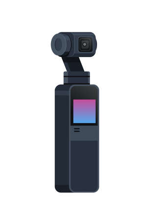 gimbal video slr camera 3-axis stabilization professional equipment anti shake system flat copy space isolated vector illustration