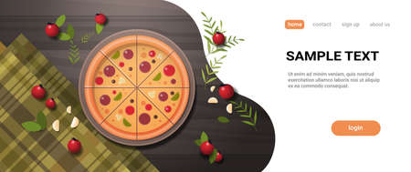 fresh pizza surrounded by vegetables restaurant italian delicious concept top angle view food served on wooden table horizontal flat copy space vector illustration