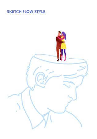open human head couple in love man woman lovers embracing romantic dating creative idea inspiration concept sketch flow style vertical vector illustration Illusztráció