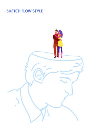 open human head couple in love man woman lovers embracing romantic dating creative idea inspiration concept sketch flow style vertical vector illustration Illustration