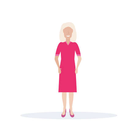 happy elderly woman smiling senior lady standing pose female cartoon character full length flat isolated vector illustration