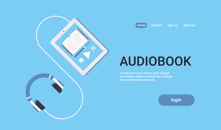 online audiobook mobile application tablet or smartphone screen with headphones audio book distance education e-learning concept blue background flat horizontal copy space vector illustration