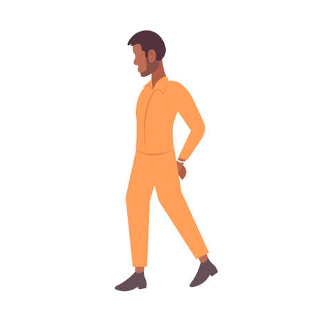african american handcuffed prisoner man criminal in orange uniform arrest tribunal imprisonment concept male cartoon character full length flat isolated vector illustration
