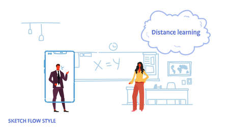 math teacher teaching business man using mobile application standing smartphone screen distance learning concept classroom interior sketch flow style horizontal vector illustration