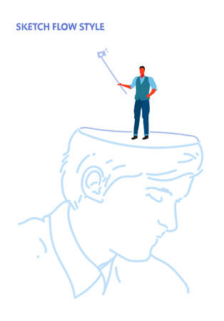 human open head businessman holding selfie stick taking picture on smartphone camera creative imagination idea concept sketch flow style vertical vector illustration Illustration