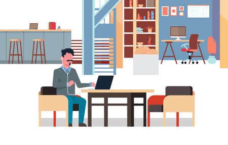 man using laptop listening to music with headphones businessman sitting workplace creative office co-working center interior horizontal full length vector illustration