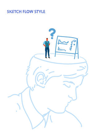 open human head confused businessman looking at flip chart financial graph presentation with question mark creative decision idea concept sketch flow style vertical vector illustration