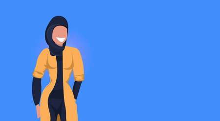arab woman happy arabic girl wearing black hijab fashion clothes muslim female cartoon character portrait flat blue background horizontal vector illustration