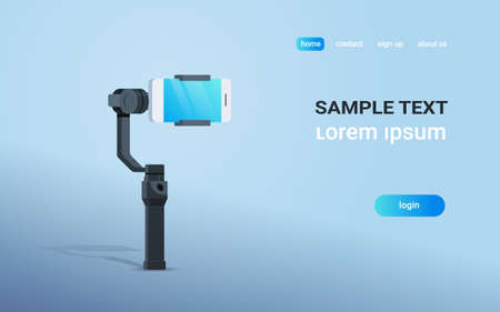 3-axis new generation stabilizer for smartphone device mobile gimbal and smart phone copy space flat horizontal vector illustration