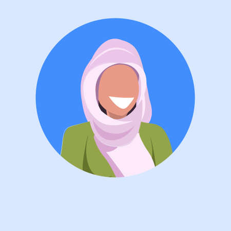 arab woman face avatar happy arabic girl wearing hijab muslim female cartoon character portrait flat blue background vector illustration