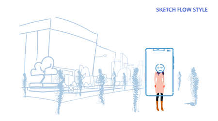 woman standing out from crowd people silhouettes using mobile application tired mask face smartphone screen city street cityscape background sketch flow style horizontal vector illustration