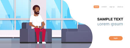 young man sitting armchair listening to music on smartphone with headphones african american guy resting at home modern living room interior flat horizontal banner full length copy space vector illustration