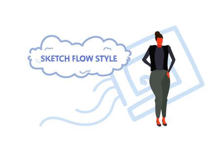 elegant businesswoman standing pose brunette business woman female cartoon character full length sketch flow style horizontal vector illustration