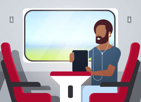 man train passenger listening audio book with headphones african american guy sitting red armchair railway traveling concept male character portrait horizontal vector illustration
