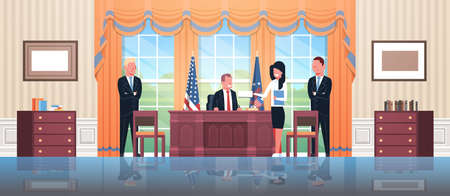 United States president sitting workplace signing law act document with female secretary and male bodyguards USA national flag oval office white house cabinet interior horizontal vector illustration