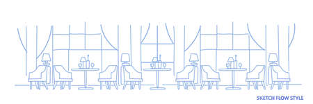 modern cafe interior design empty no people restaurant with round tables surrounded by chairs sketch flow style horizontal banner vector illustration
