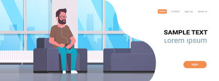 young man sitting armchair listening to music on smartphone with headphones bearded guy resting at home modern living room interior flat horizontal banner full length copy space vector illustration Illustration