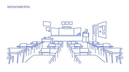 empty school class room interior board desk sketch flow style horizontal vector illustration