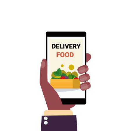 human hand holding smartphone delivery food mobile application screen online ordering concept flat isolated vector illustration Illustration