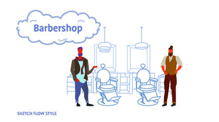 couple stylish barbers standing near retro style haircut chair male hairdressers in hair salon modern barbershop interior sketch flow style horizontal vector illustration
