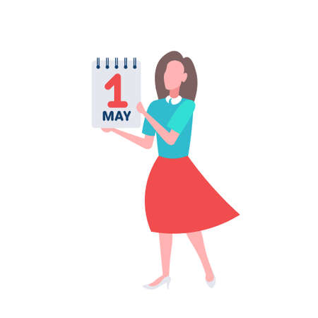 businesswoman holding calendar 1 may date happy labor day concept female manager cartoon character full length flat isolated vector illustration