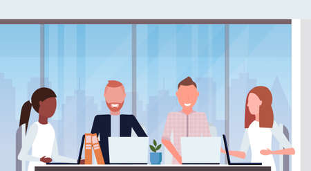 businesspeople group meeting conference mix race coworkers using laptop modern office interior co-working center workspace closeup portrait flat horizontal vector illustration Illustration