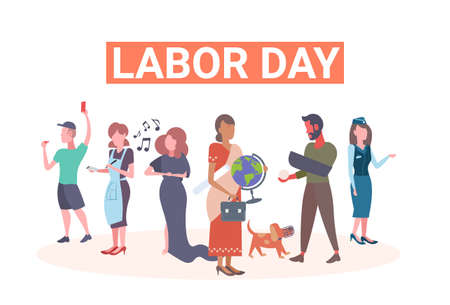 labor day poster people of different professional occupation holiday celebration concept mix race workers standing together isolated full length flat horizontal vector illustration Illustration