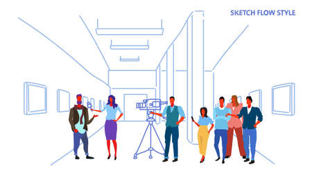 female presenter interviewing with crew reporter taking interview with man mass media announcement concept art gallery museum interior horizontal sketch vector illustration