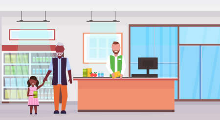 retail man cashier supermarket african american grandfather with granddaughter customers standing at checkout counter shopping concept grocery market interior flat horizontal vector illustration