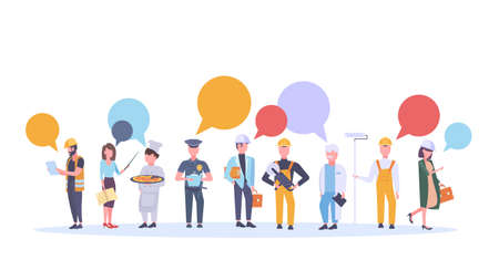labor day poster people of different professional occupation colorful chat bubble communication holiday celebration concept workers standing together collection isolated flat horizontal vector illustration