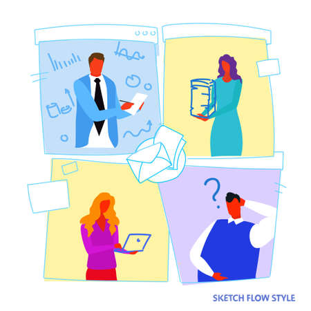 set different poses businesspeople office workers working process concept male female cartoon characters portrait sketch flow style vector illustration