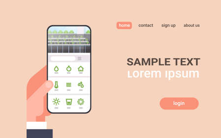 hand holding smartphone using smart control farming system mobile application organic hydroponic green plants row cultivation farm modern greenhouse interior horizontal copy space vector illustration