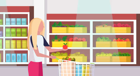 woman housewife carrying full trolley cart of food purchases big grocery shop supermarket interior female customer super market shopping concept portrait flat horizontal vector illustration Ilustracja