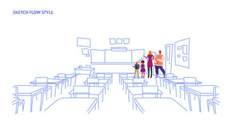 parents with children standing school class room interior board desk sketch flow style horizontal vector illustration