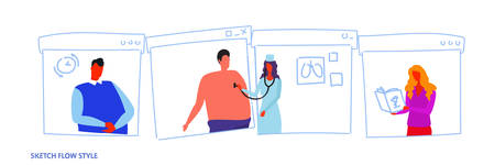 female medical doctor with stethoscope checking male patient breath medical worker in uniform healthcare concept sketch flow style portrait horizontal vector illustration
