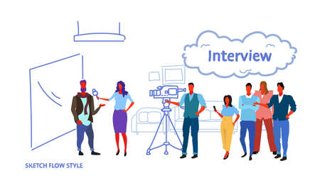professional camera recording female presenter interviewing in television studio with crew reporter taking interview with man mass media announcement concept horizontal sketch vector illustration