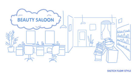 modern interior design of beauty saloon empty no people hairdressing contemporary room sketch doodle horizontal vector illustration