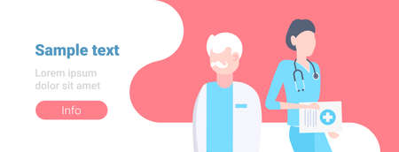 couple medical doctors team standing together two hospital workers man woman specialists in uniform male female cartoon characters portrait horizontal banner copy space flat vector illustration
