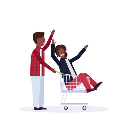 man carrying trolley cart with woman happy african american couple having fun supermarket shopping concept male female cartoon characters full length isolated vector illustration