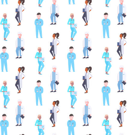 medical doctors mix race hospital workers men women specialists in uniform seamless pattern male female cartoon characters full length isolated flat vector illustration
